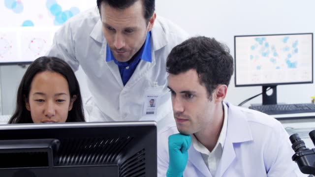 Male and female scientist are working in a laboratory.Health care researchers working in life science laboratory. video