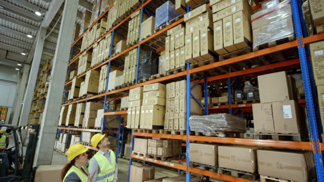 CS Male and female warehouse supervisors looking at the pallet racks in the warehouse video