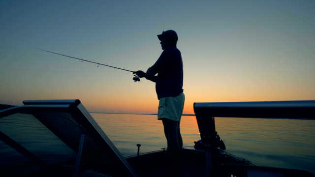 male angler is casting a fishing rod into a sunlit lake - fishing stock videos and b-roll footage