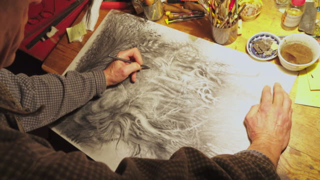 Male artist's hand sketching black and white picture video