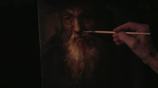 Male artist's hand sketching renaissance picture 4k. video