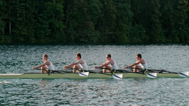 SLO MO Male athletes sculling on a lake in a quad scull video