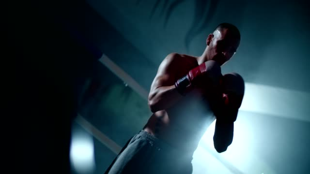 Male boxer in a fighting stance in a boxing ring video