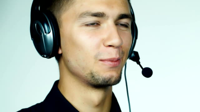 Male call center operator video