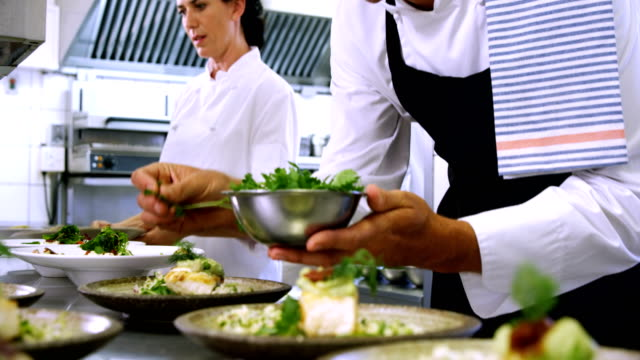 Male chef garnishing appetizer plates at order station 4k Male chef garnishing appetizer plates at order station in restaurant 4k commercial kitchen stock videos & royalty-free footage