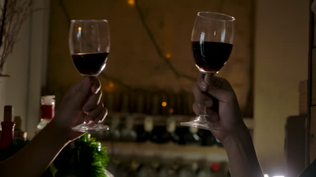 LGBT Male couples are drinking wine Celebrate the Christmas season