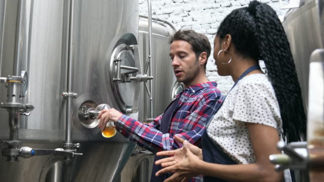 Male Craft Brewer Drawing Beer Sample for Quality Check