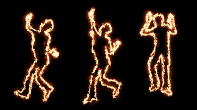 Männliche Tanzen feurige Silhouetten – Video