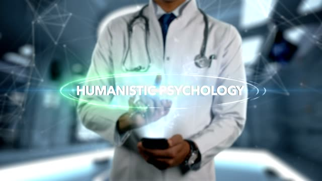 male doctor hologram psychotherapy word - humanistic psychology - medical technology стоковые видео и кадры b-roll