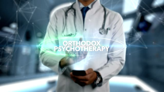 male doctor hologram psychotherapy word - orthodox psychotherapy - medical technology стоковые видео и кадры b-roll