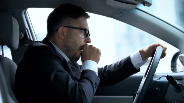 Male driver stopping his car because of cough attack, risk of pneumonia, asthma Male driver stopping his car because of cough attack, risk of pneumonia, asthma coughing stock videos & royalty-free footage