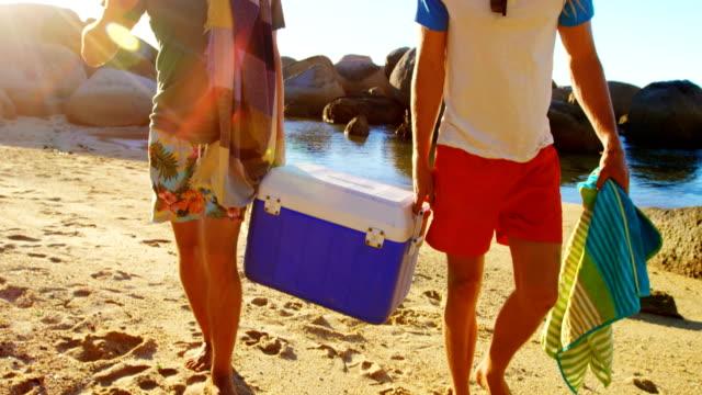Männliche Freunde gehen mit Eis-Box am Strand 4k – Video