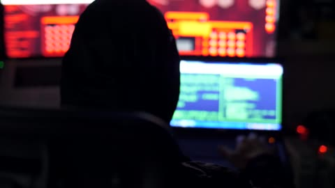 Male hacker working on a computer Internet, Cyborg, Technology, Binary Code, Data identity stock videos & royalty-free footage