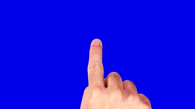 Male hand. Mobile phone. Touchscreen gestures. Blue sceen. video