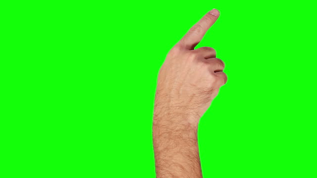 Male hand. Tablet. Touchscreen gestures. Green Screen. Technology background.