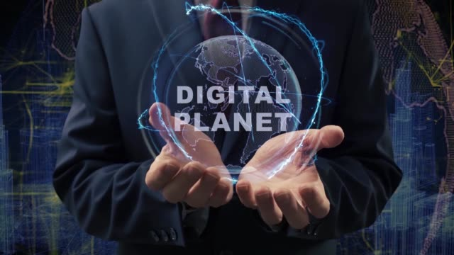 male hands activate hologram digital planet - ludzka osada filmów i materiałów b-roll