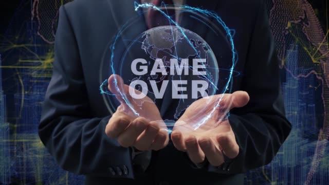 manliga händer aktivera hologram game over - stavning bildbanksvideor och videomaterial från bakom kulisserna