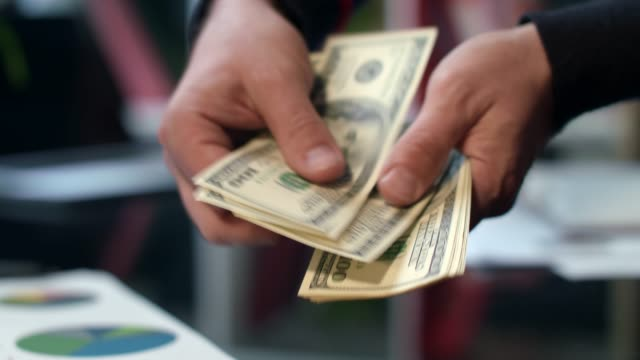 male hands count cash money in bank office. starting investment capital - video di credit card video stock e b–roll