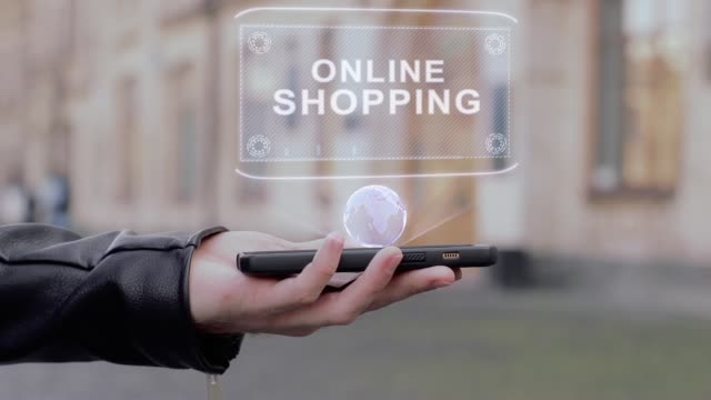 Male hands show on smartphone conceptual HUD hologram Online shopping
