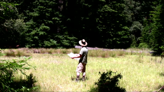 Male Hiker Reading Map in a Meadow. video