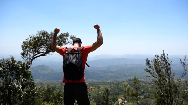 Male hiker with backpack reaches up top of mountain and raises hands up. Young traveler stands to the edge of beautiful canyon and outstretched arms up. Man tourist enjoys picturesque landscape.