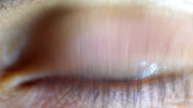 vídeos de stock e filmes b-roll de male human eye blinks. close-up - piscar