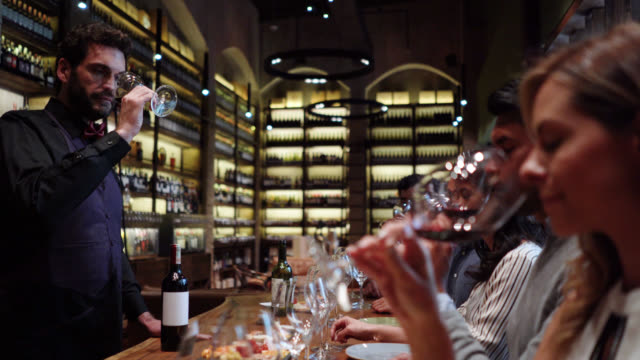 Male latin american sommelier talking to group of friends during a wine tasting class