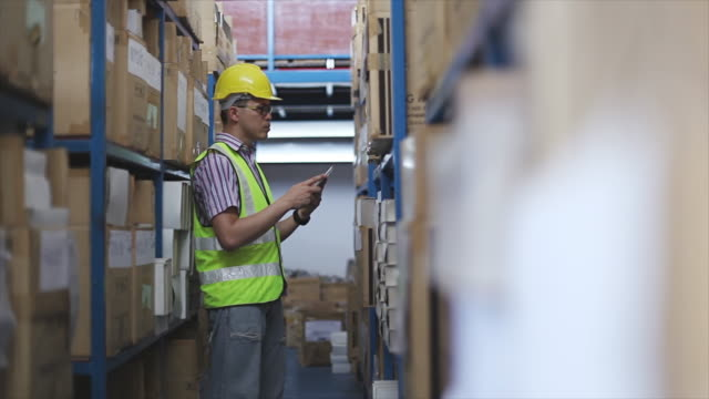 Male manager using tablet in a warehouse video