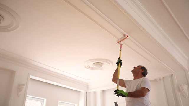 Male painter painting a ceiling video