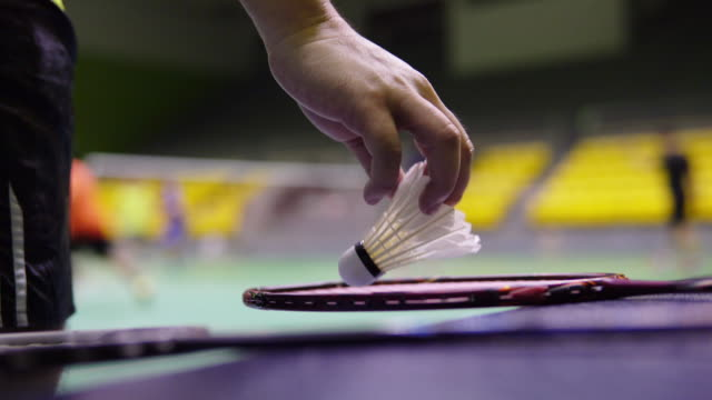 male player picking up badminton racket with shuttlecocks. - badminton stock videos & royalty-free footage