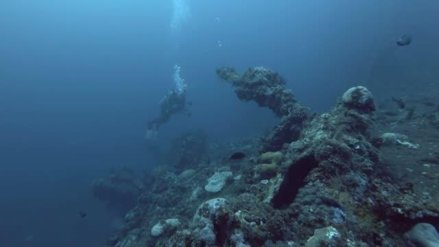 male scuba diver with camera swim near the board shipwreck usat liberty - bali, oceania, indonesia - wrak statku filmów i materiałów b-roll