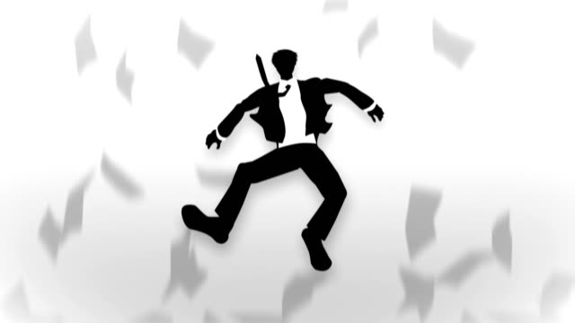 Male Silhouette Jumping, Businessman, Loop Animation, video