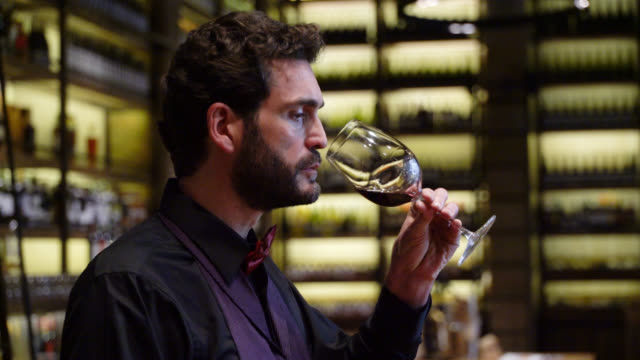 Male sommelier tasting wine while working at a cellar