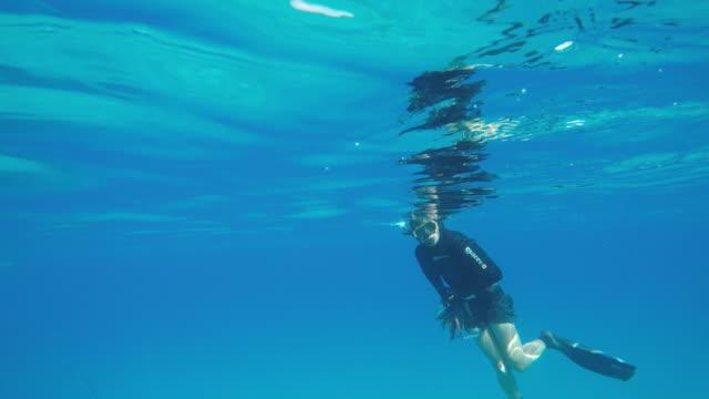 Male spear fisherman prepares to dive
