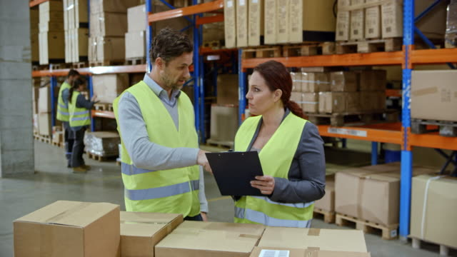 Male supervisor taking to the male manager as they stand by the packages stacked on a pallet in the warehouse video