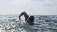 istock SLO MO Male swimmer swimming forward crawl in the sea on a sunny day 1024167300