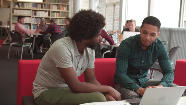 Male University Student Working In Library With Tutor video