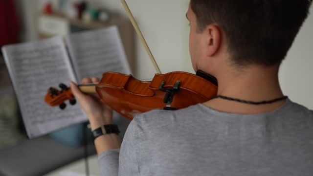 Male violinist rehearsing music piece at home