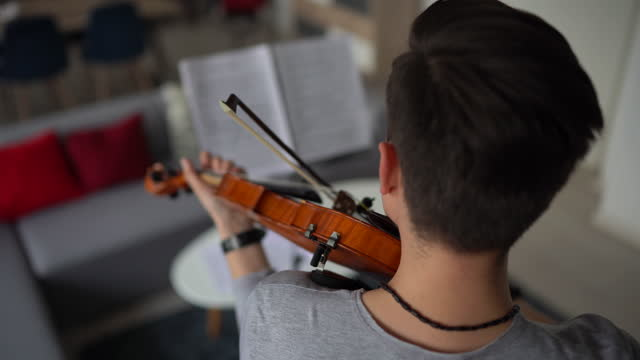 Male violinist rehearsing music piece