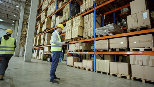 CS Male warehouse employee checking the pallet racks in a warehouse video