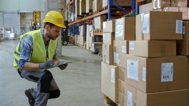 Male warehouse employee doing an inventory of the packages stacked on a pallet in the warehouse video