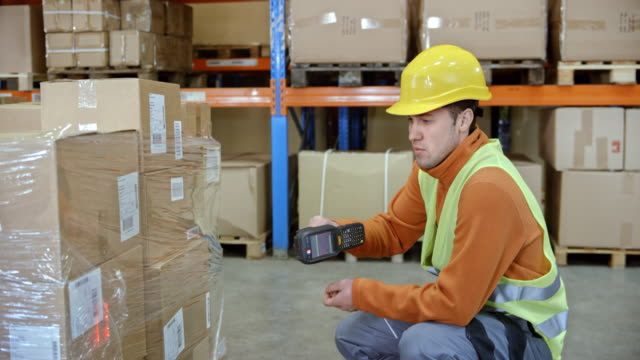 Male warehouse employee scanning the packages on a pallet in the warehouse video