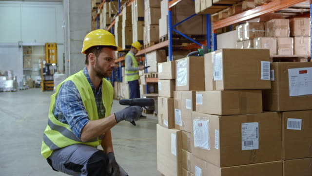 Male warehouse employee scanning the packages on the pallet with a handheld scanner video