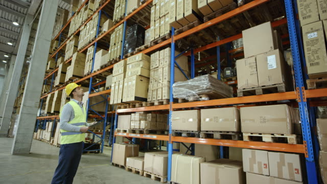 CS Male warehouse supervisor standing in a full warehouse and checking the pallets video
