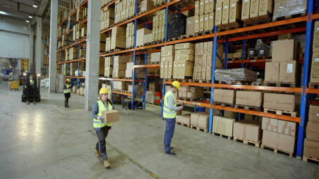 CS Male warehouse supervisor working in the warehouse with other employees video