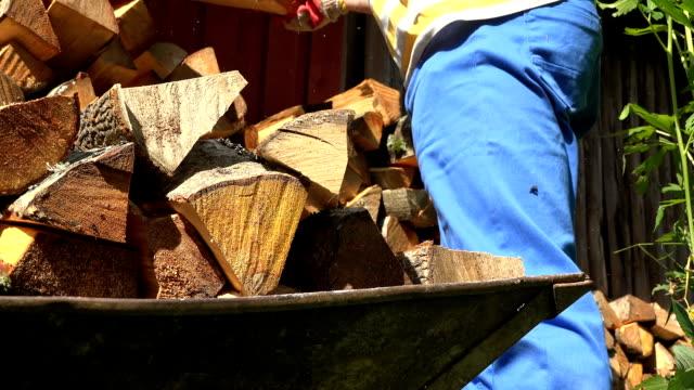 männliche arbeiter hände mit handschuhen zu entladen holz scheitholz aus warenkorb - brennholz stock-videos und b-roll-filmmaterial