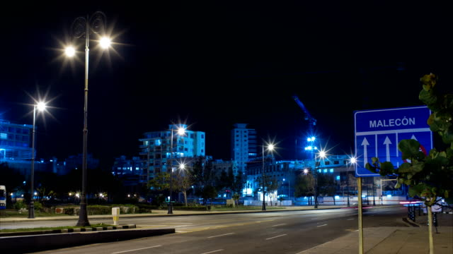 Malecon Road Sign with Traffic and Construction Site on Background Timelapse, Havana, Cuba video