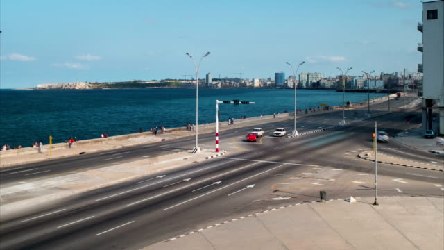 Malecon Traffic Long Exposure Time Lapse, Havana, Cuba video