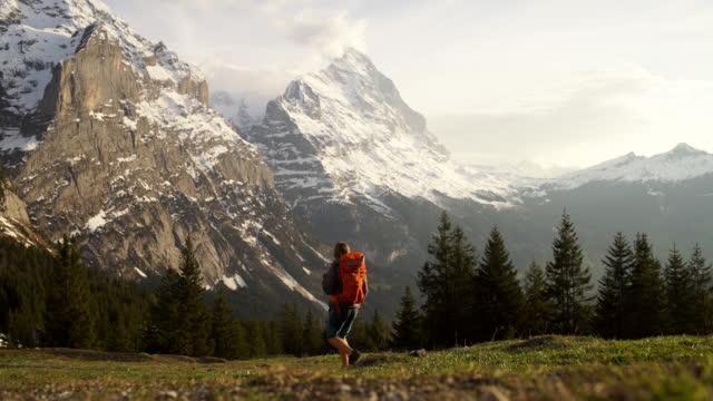 malek wanderer geht auf alp - kanton bern stock-videos und b-roll-filmmaterial