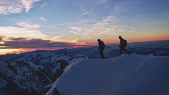 Males at peak of snowcapped mountain against sky